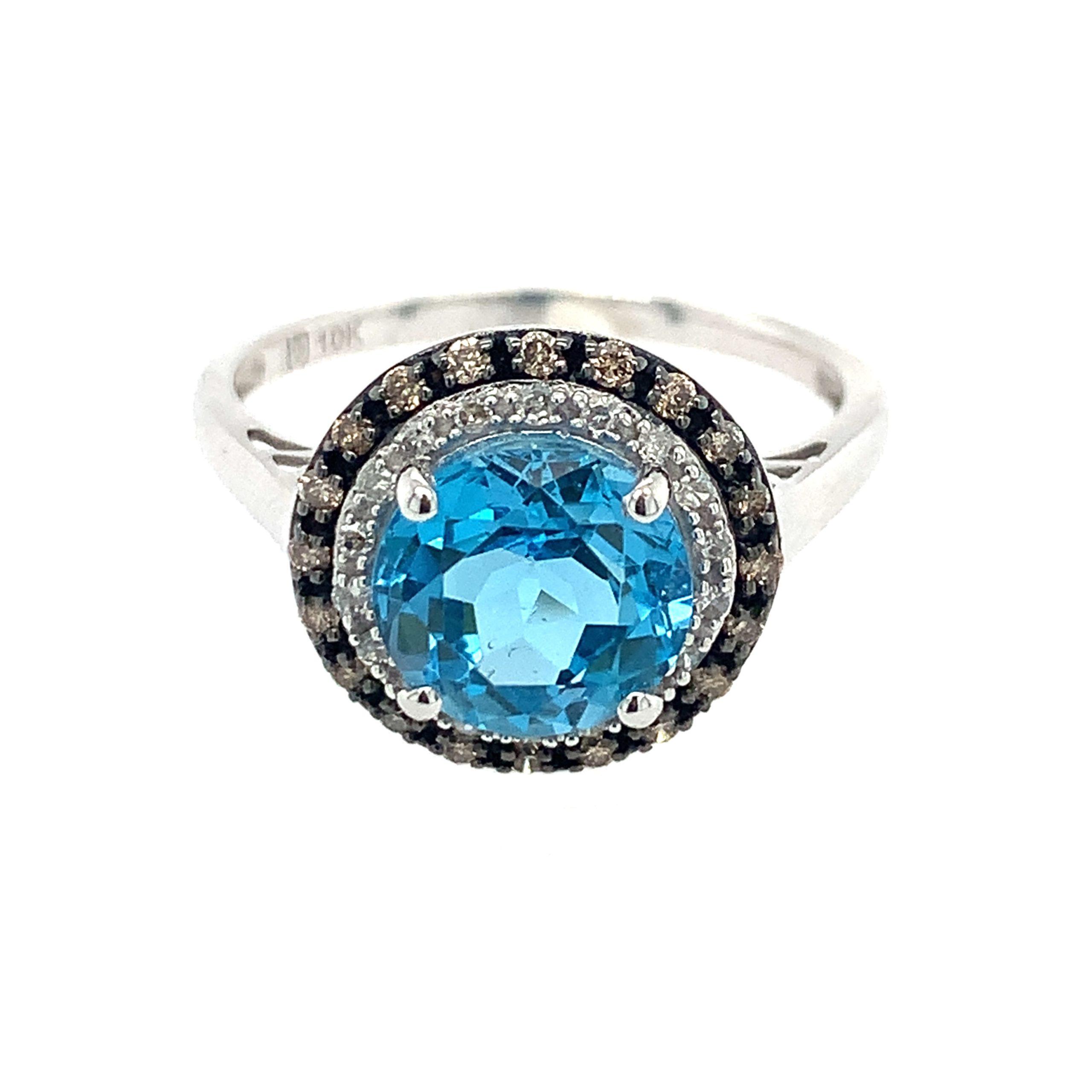 White Gold Blue Topaz Ring