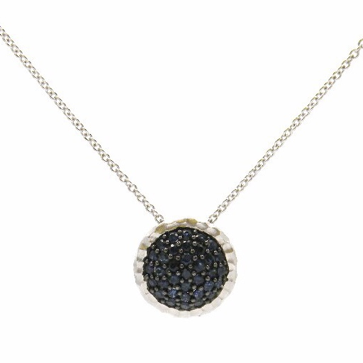 Sterling Silver Hammered Sapphire Pendant Necklace