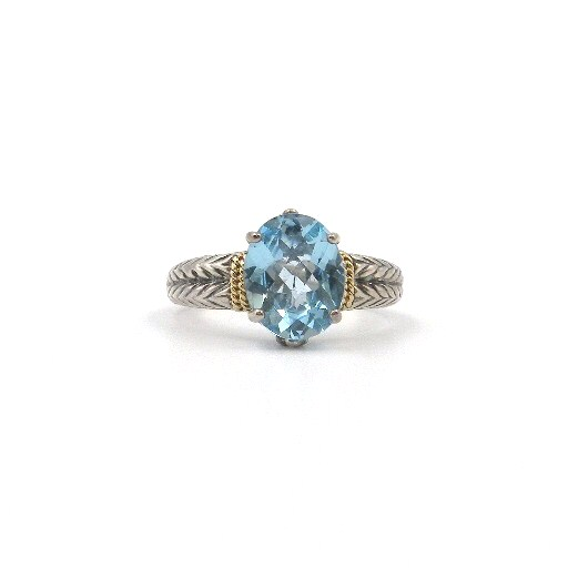 Sterling Silver Oval Blue Topaz Ring