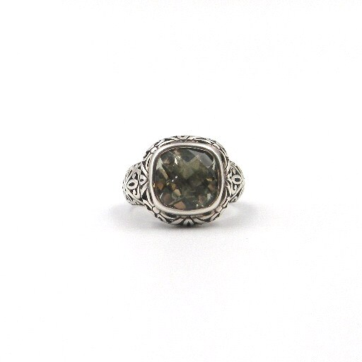 Sterling Silver Antique-Inspired Green Amethyst Ring