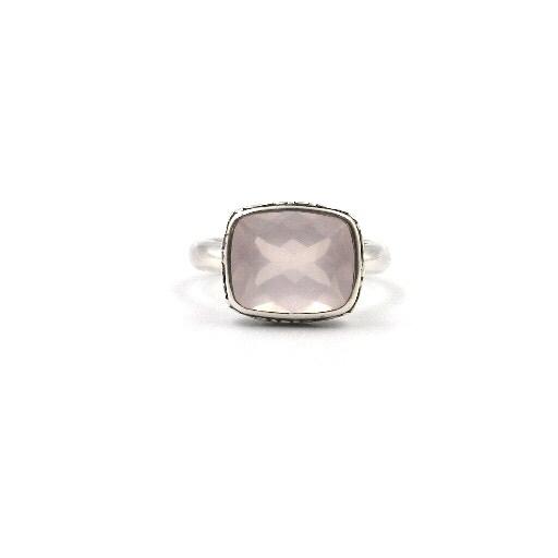 Sterling Silver Antique-Inspired Rose Quartz Ring