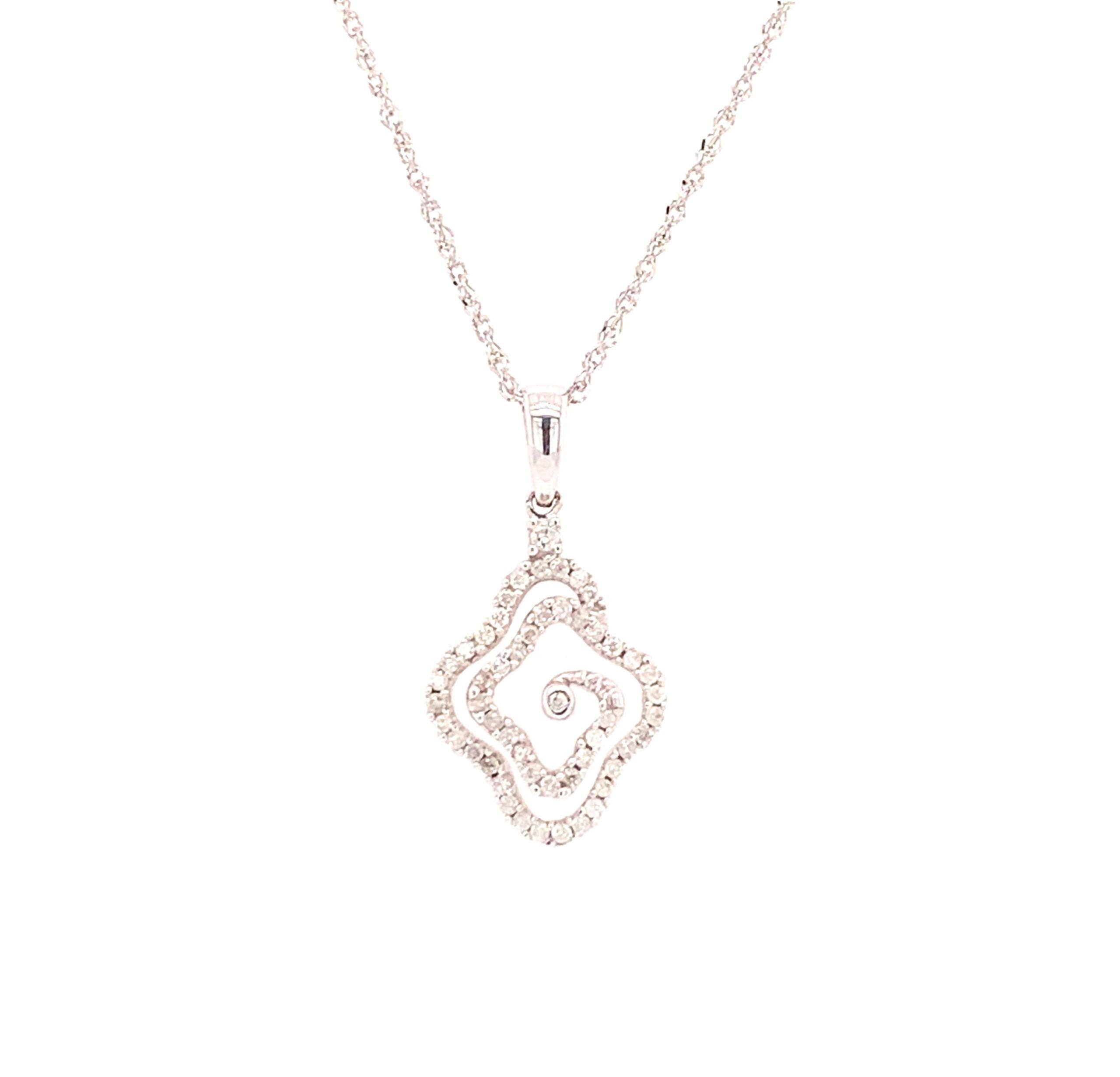 White Gold Diamond Free-Form Pendant