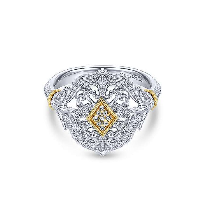 Argentium Silver & Yellow Gold Fashion Ring