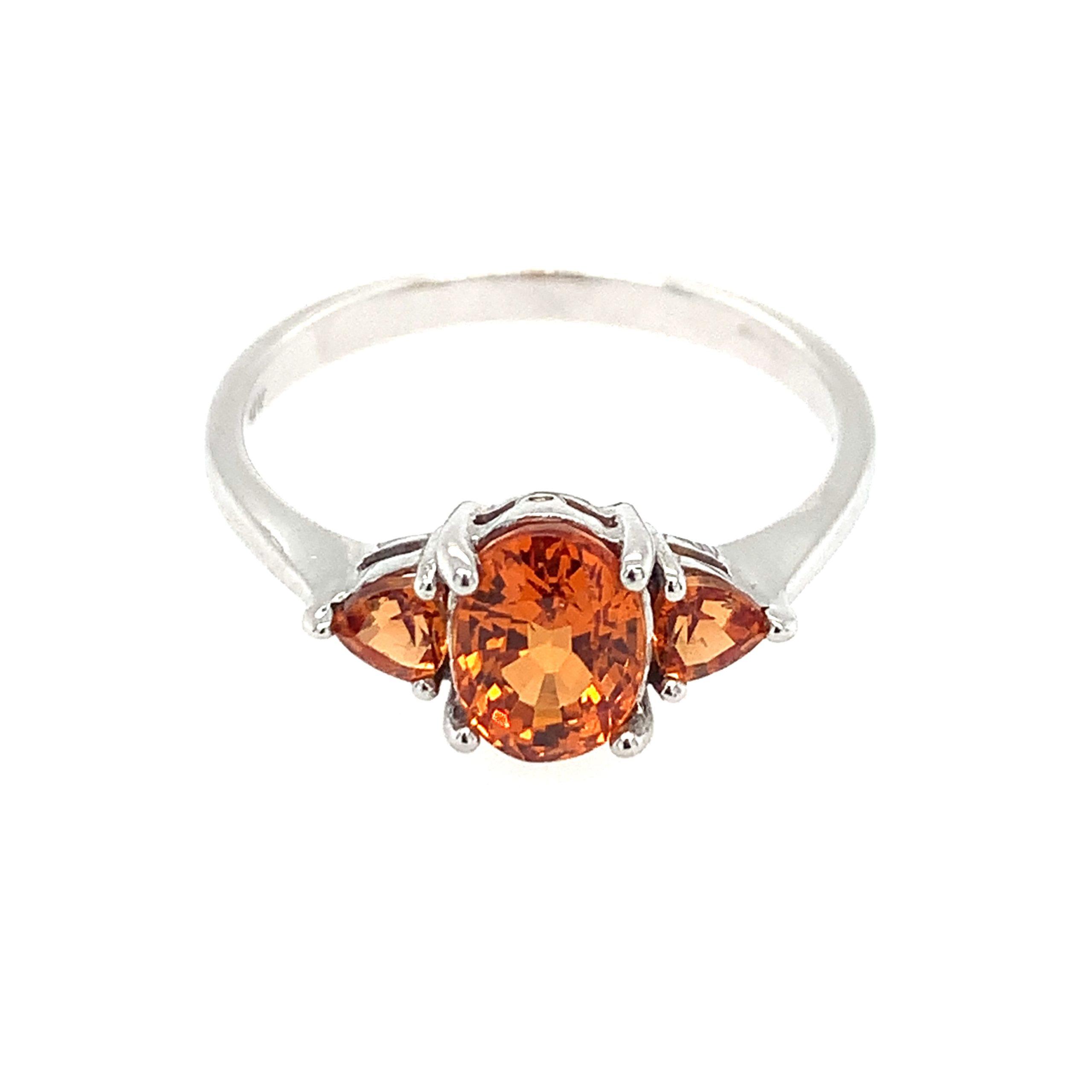 White Gold Three-Stone Mandarin Garnet Ring