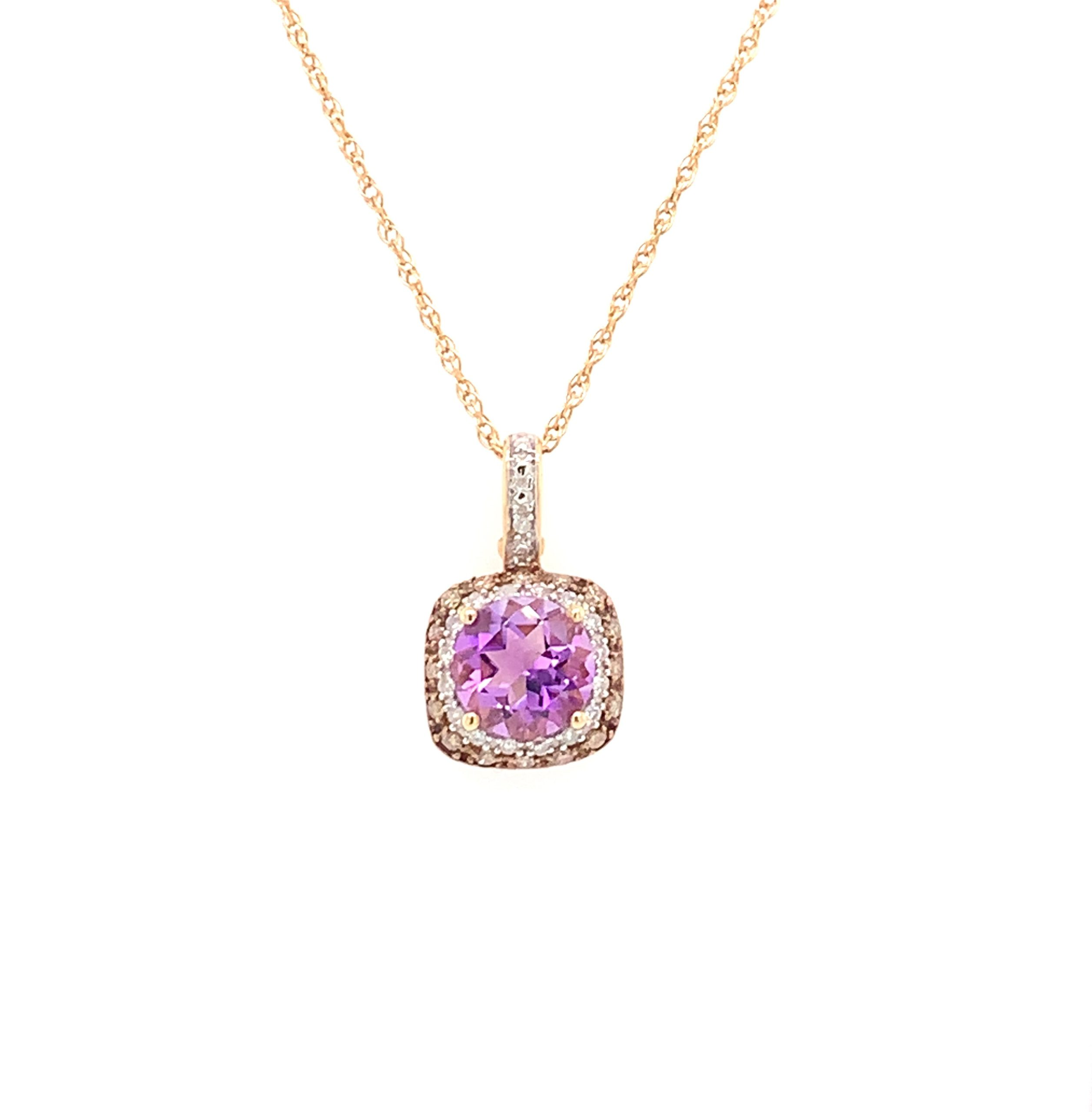 Yellow Gold Amethyst Necklace