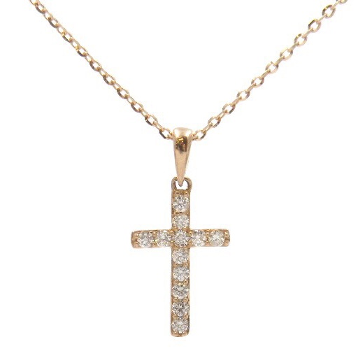 Rose Gold Cross Necklace with Diamonds
