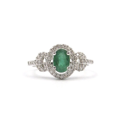 14 Karat White Gold Emerald Ring with Diamonds