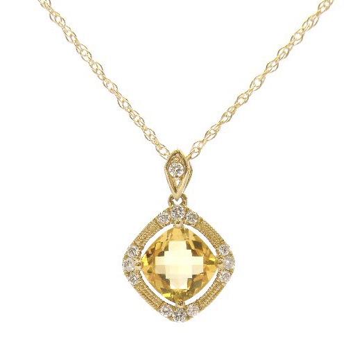 14 Karat Yellow Gold Citrine Pendant with Diamonds