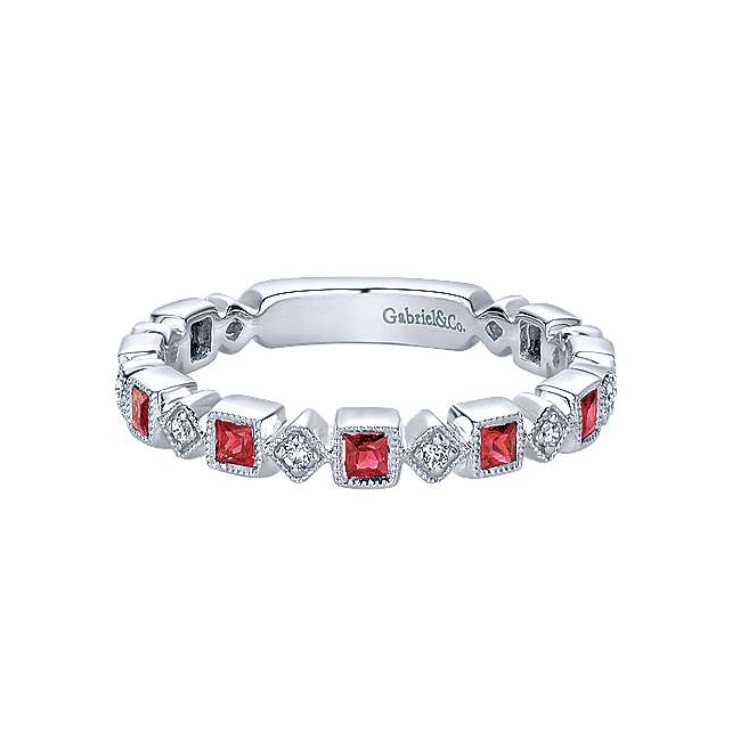 Diamond & Ruby Stackable Band
