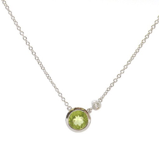 Sterling Silver Peridot Necklace with Diamond Accent