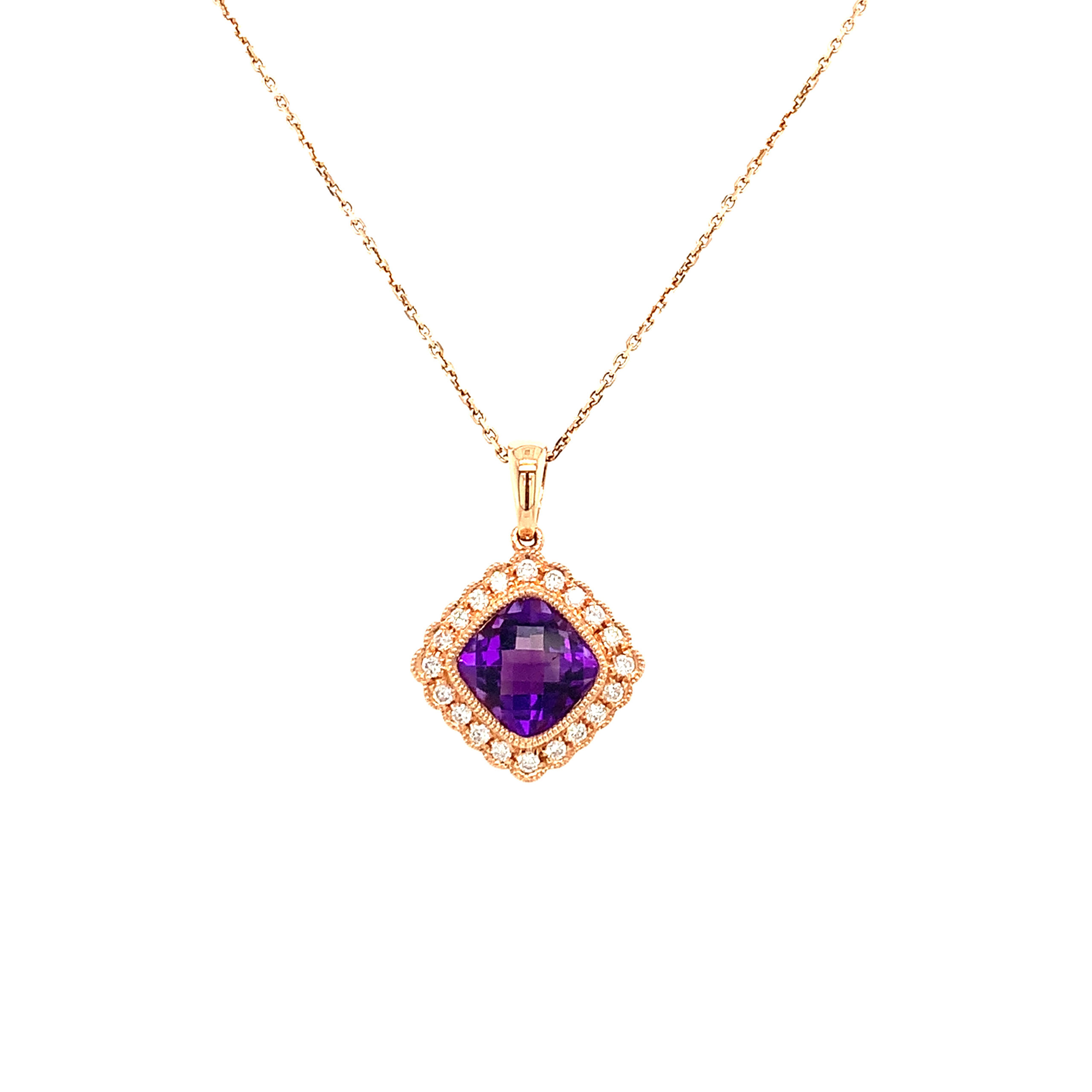 Rose Gold Amethyst Pendant Necklace