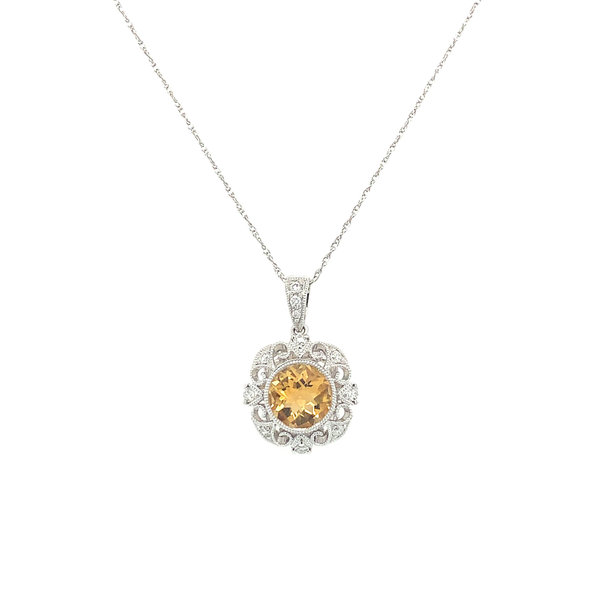 White Gold Citrine Pendant Necklace