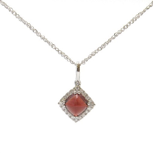 14 Karat White Gold Garnet Pendant with Diamond Halo