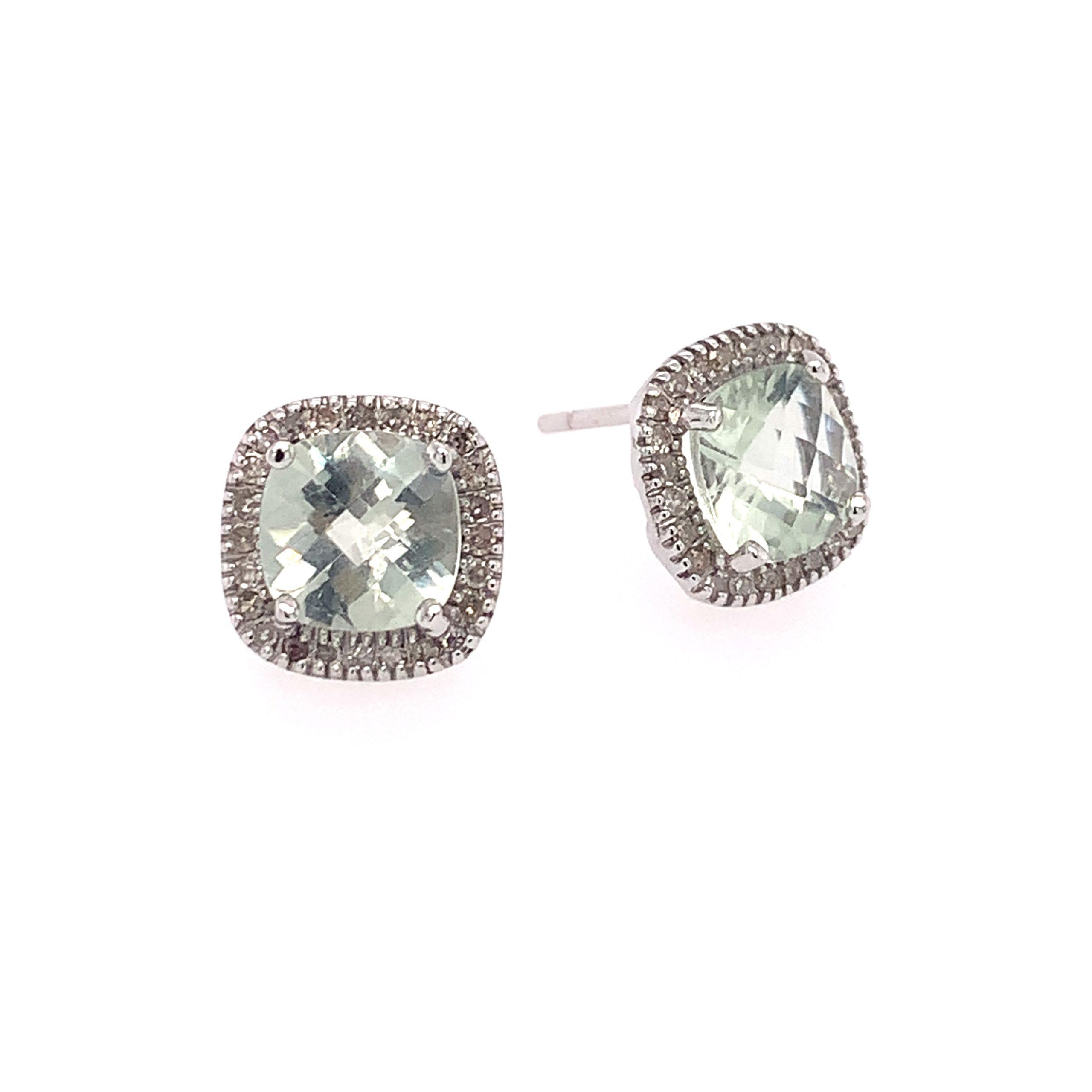 White Gold Green Amethyst Earrings