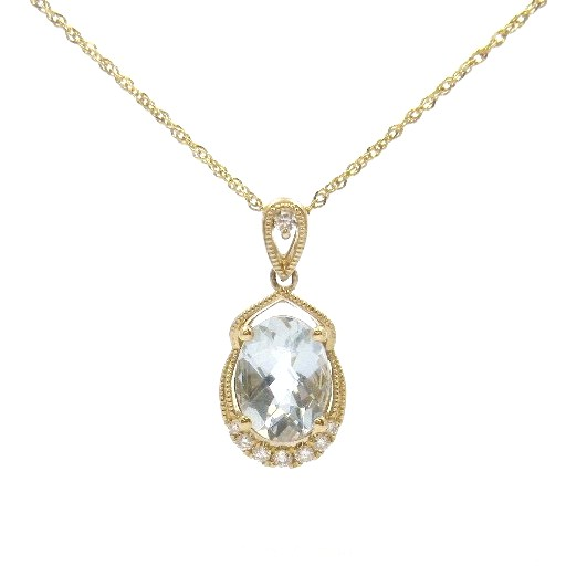 14 Karat Yellow Gold Aquamarine Pendant with Diamonds