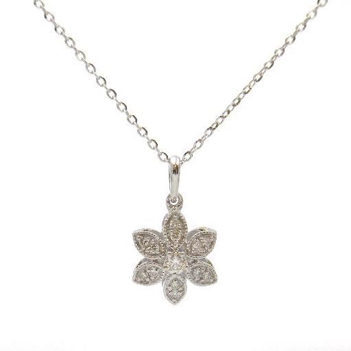 White Gold Diamond Flower Necklace