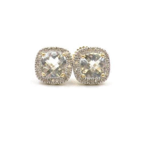 14k Yellow Gold Aquamarine Earrings With Diamonds