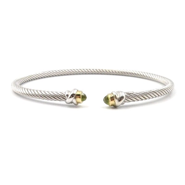 Sterling Silver and Yellow Gold Peridot Bangle