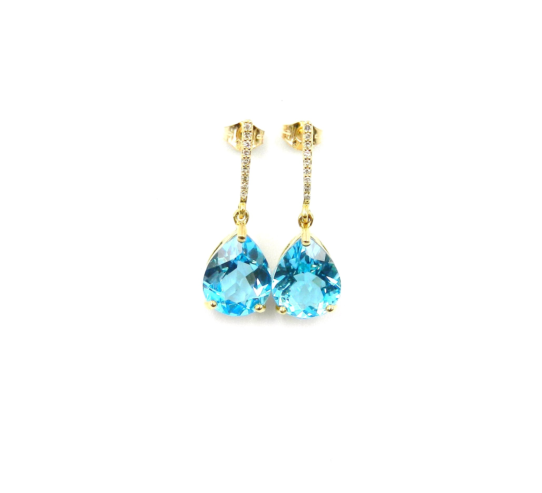 10 Karat Yellow Gold Blue Topaz and Diamond Earrings