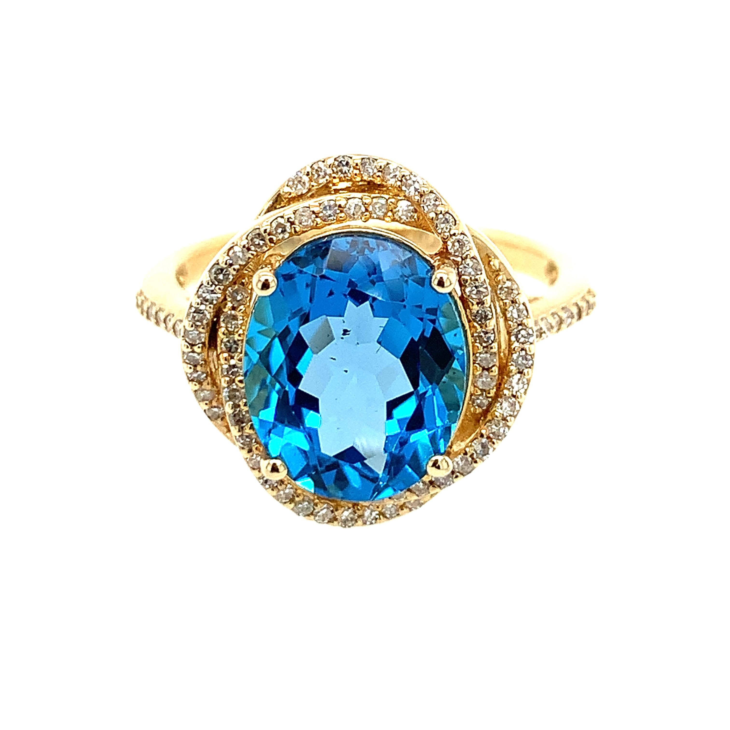 Yellow Blue Topaz Ring
