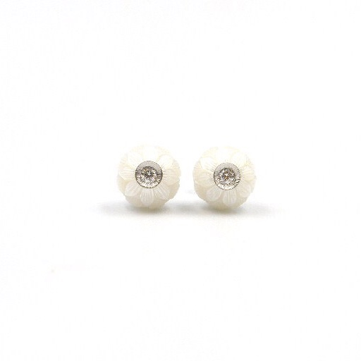 White Gold Carved Pearl and Diamond Earrings
