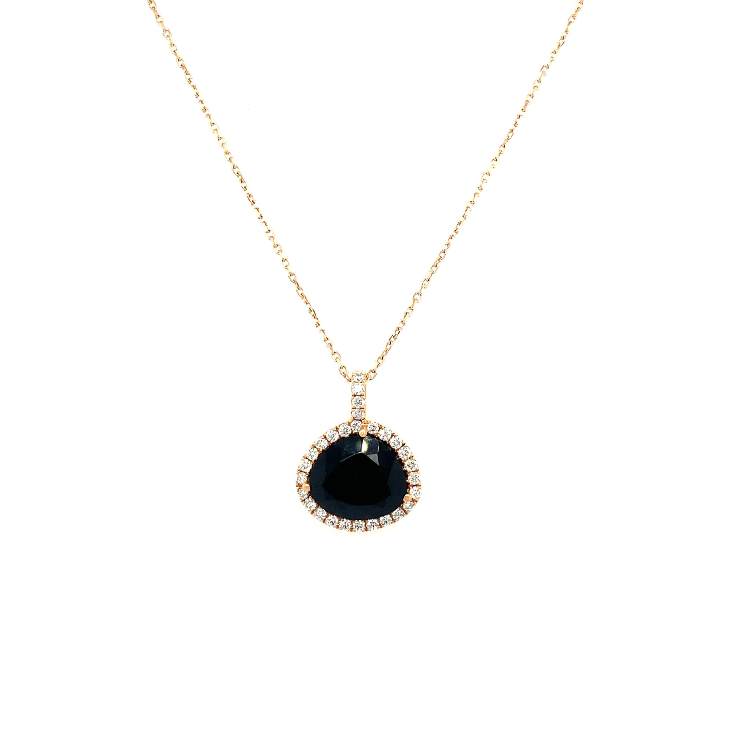 Rose Gold Onyx Pendant Necklace