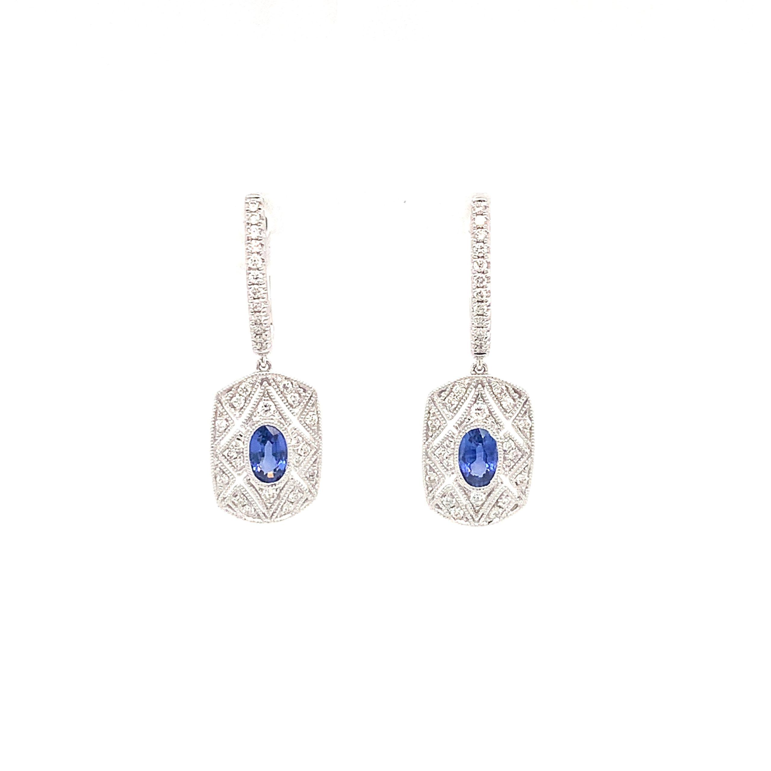 White Gold Sapphire Drop Earrings