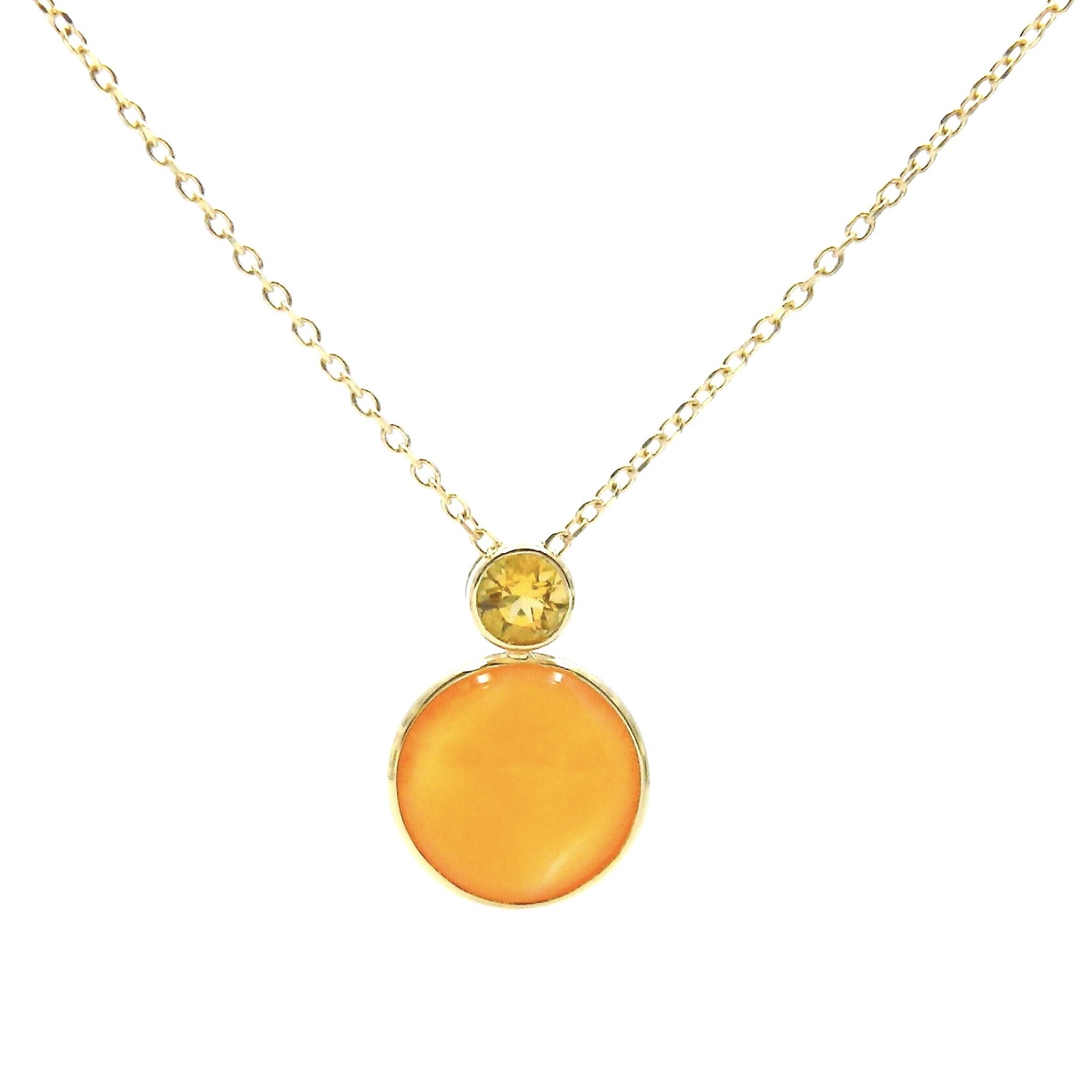 14 Karat Yellow Gold Carnelian and Citrine Necklace