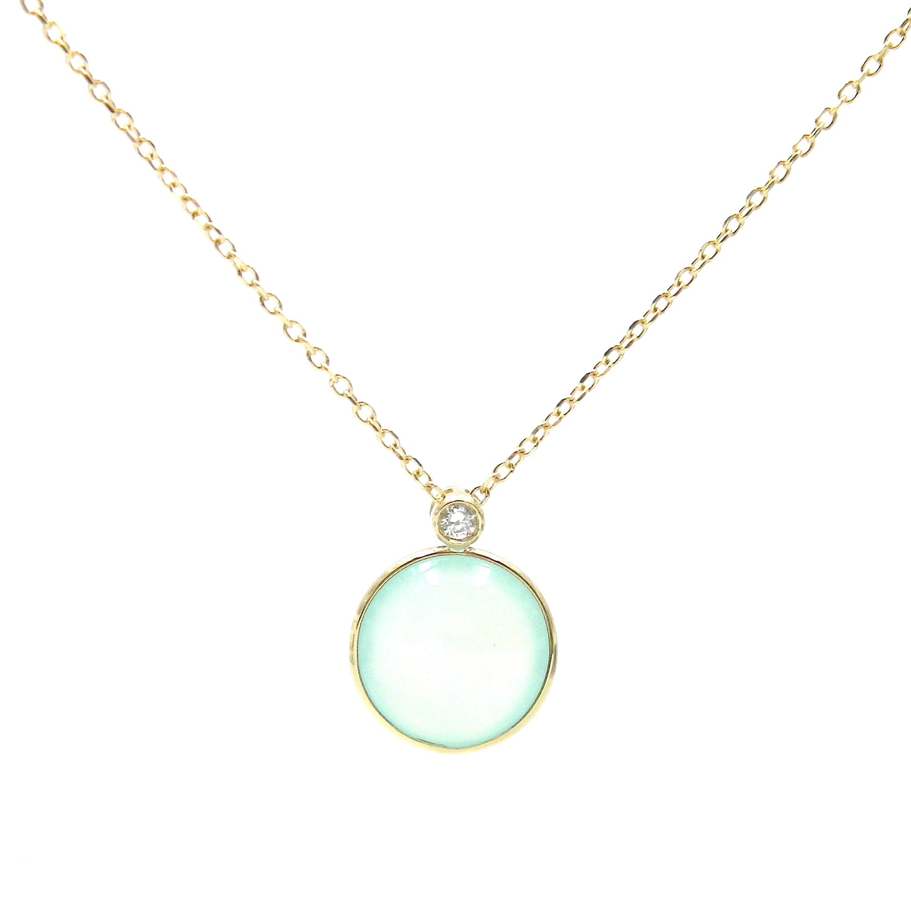 Yellow Gold Chrysoprase and Diamond Necklace