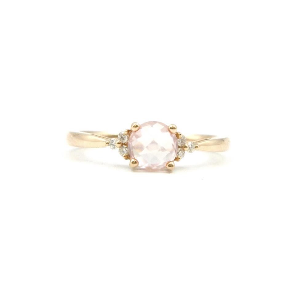 14 Karat Rose Gold Rose Quartz Ring with Diamonds