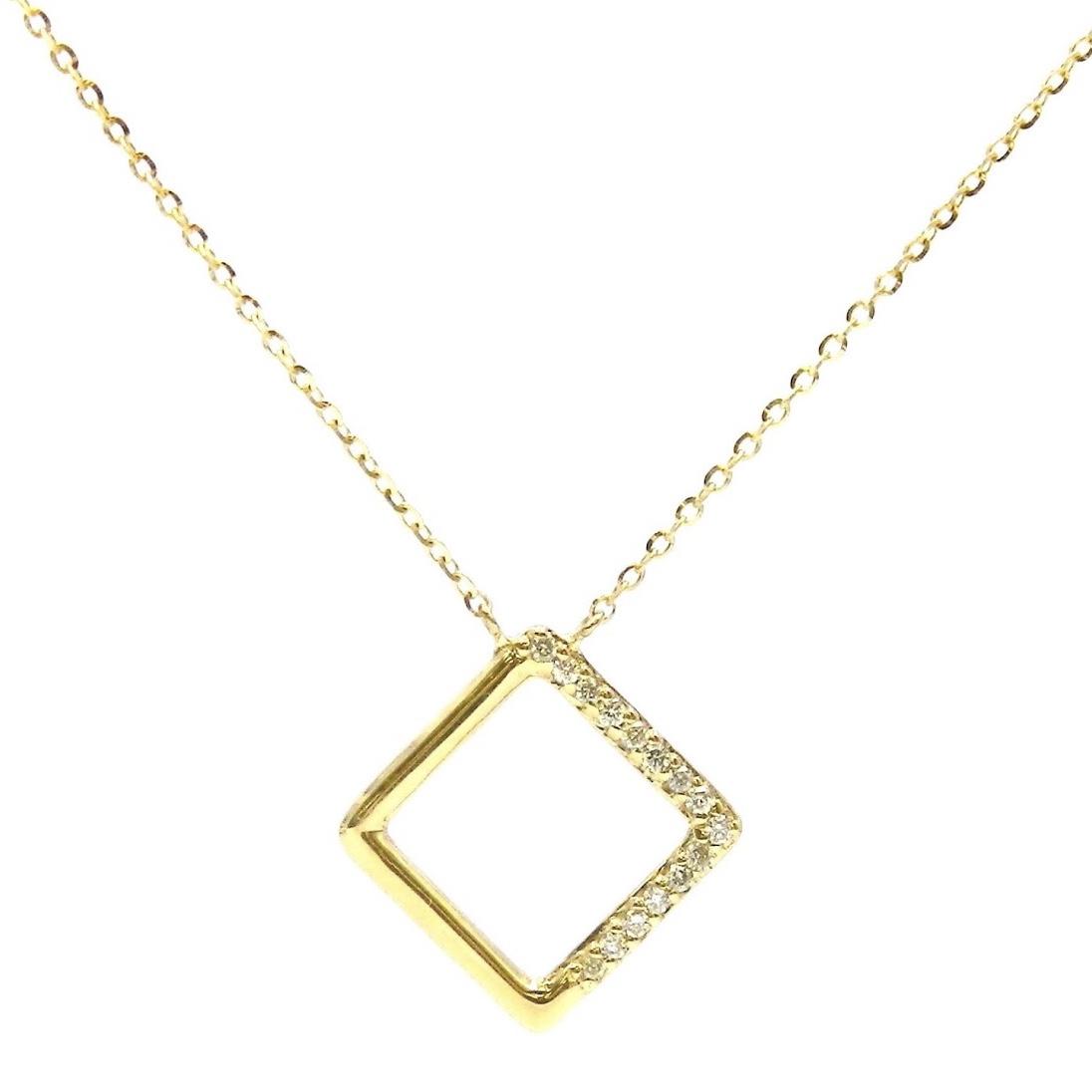 14 Karat Yellow Gold Square Diamond Necklace