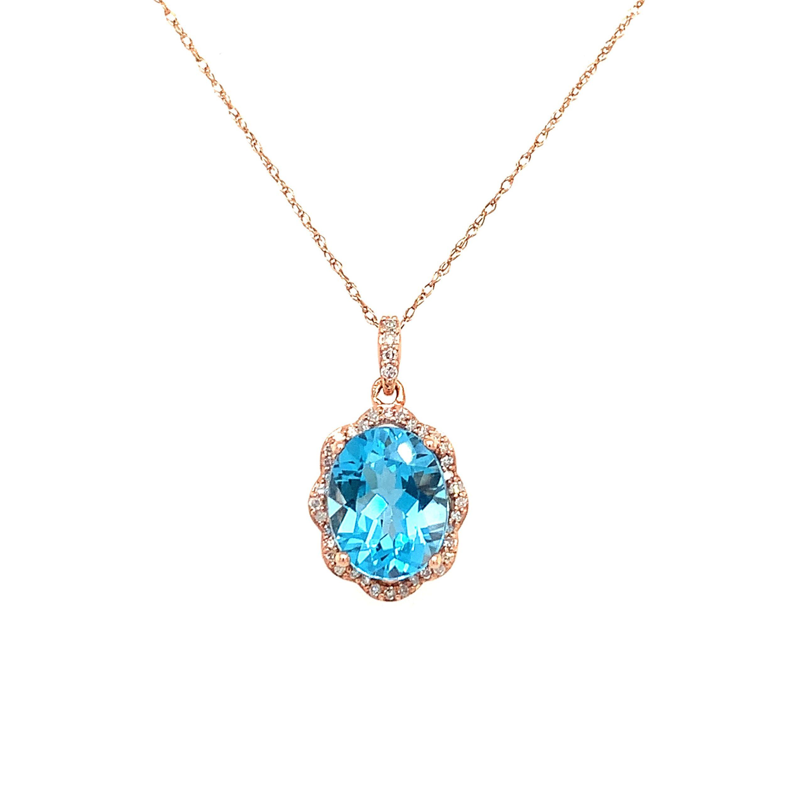 Rose Gold Blue Topaz Necklace