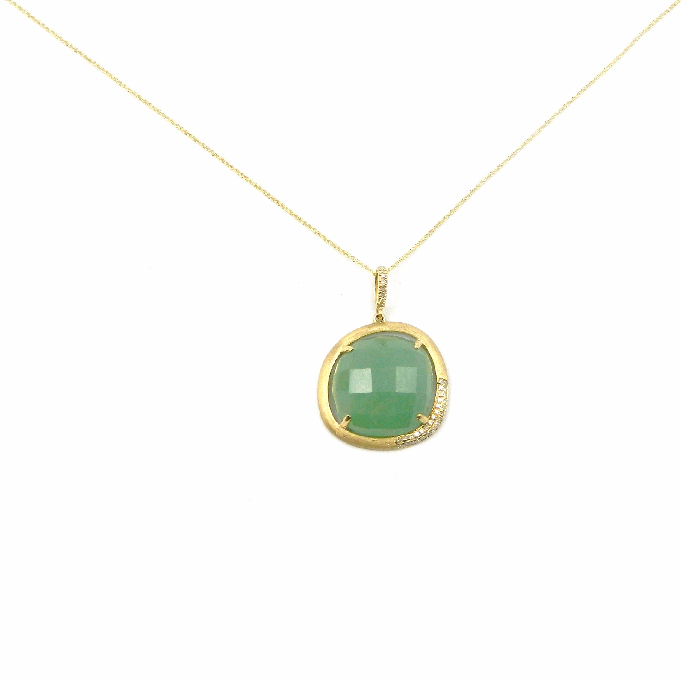 Yellow Gold Aventurine Pendant