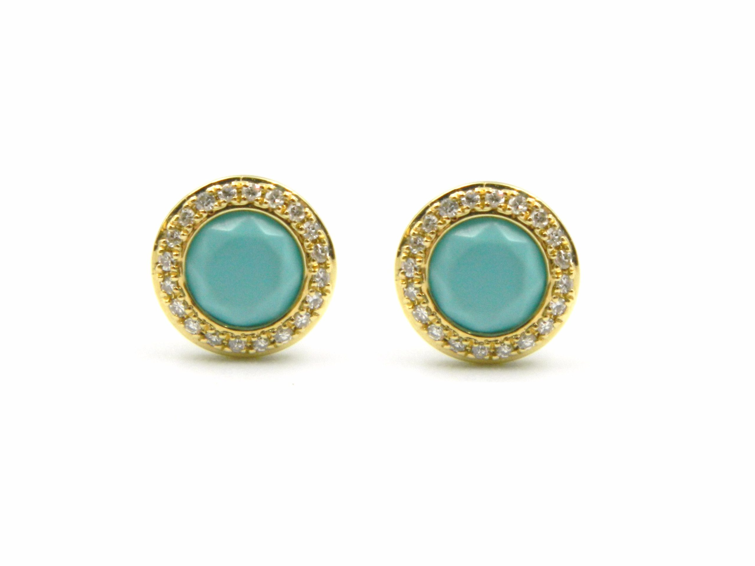Yellow Gold Turquoise Post Earrings