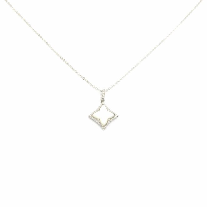White Gold Mother of Pearl Necklace