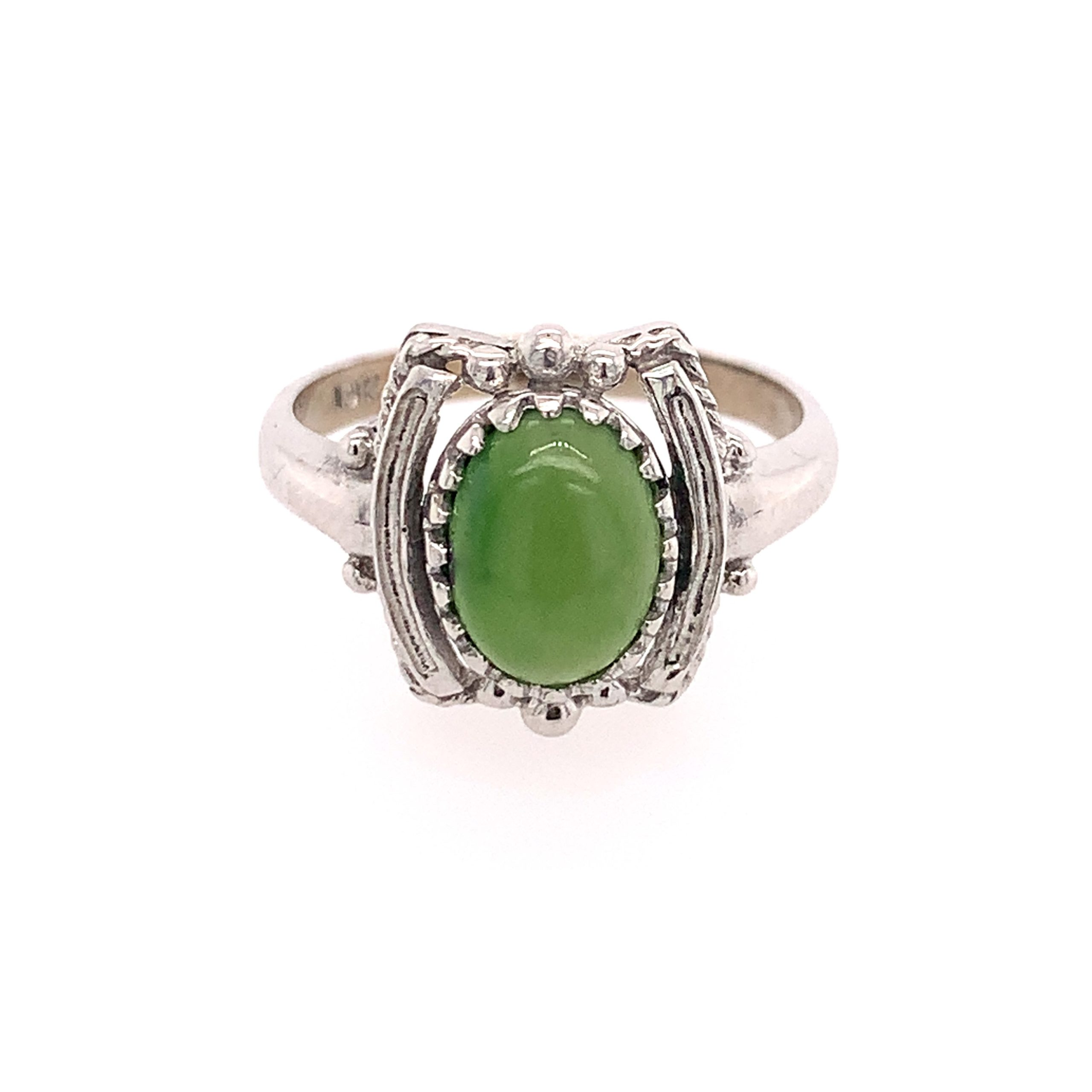 Estate Piece - White Gold Ring With Oval Green Stone