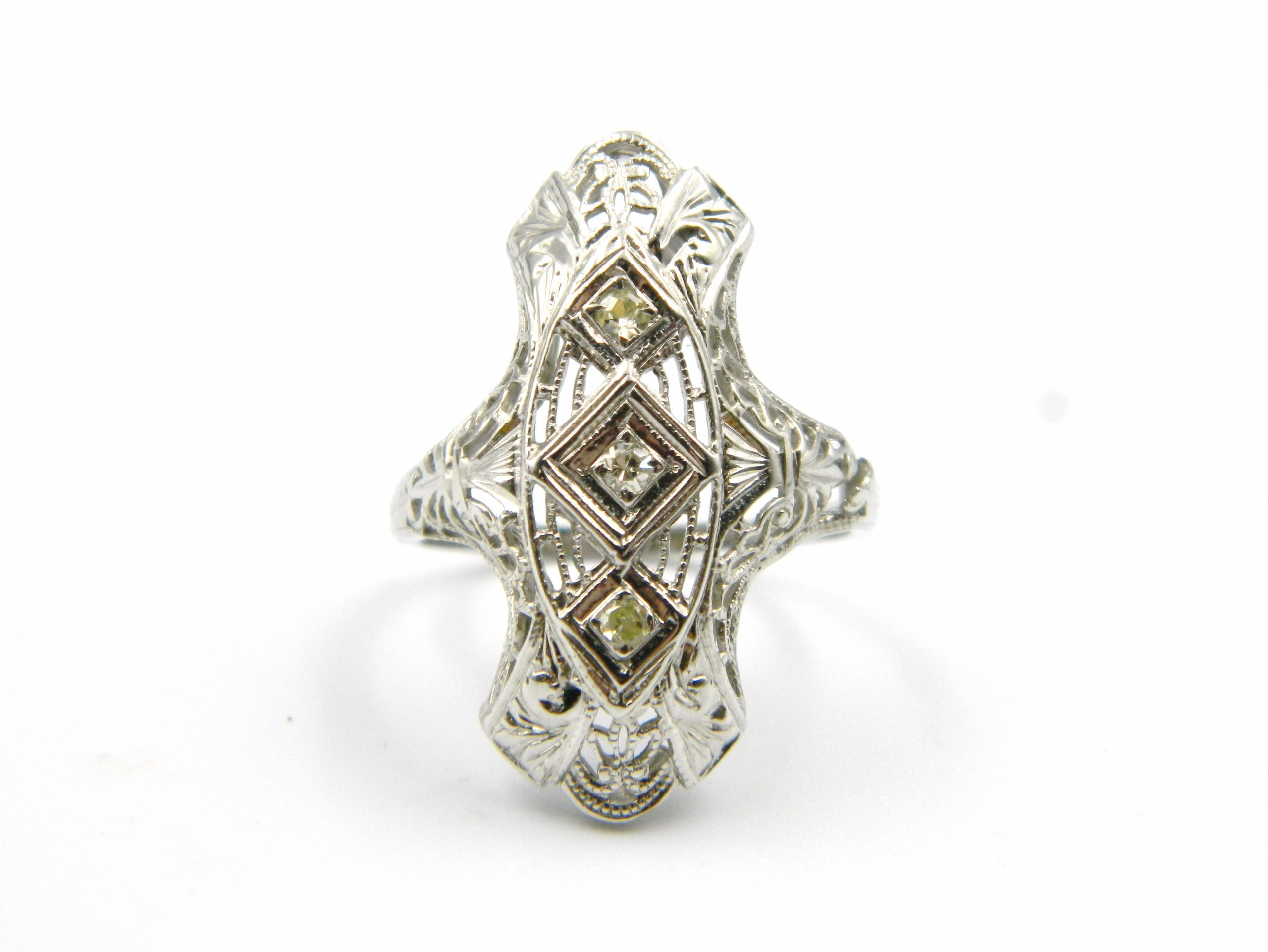 Estate Piece - White Gold Ring with Diamond Accents