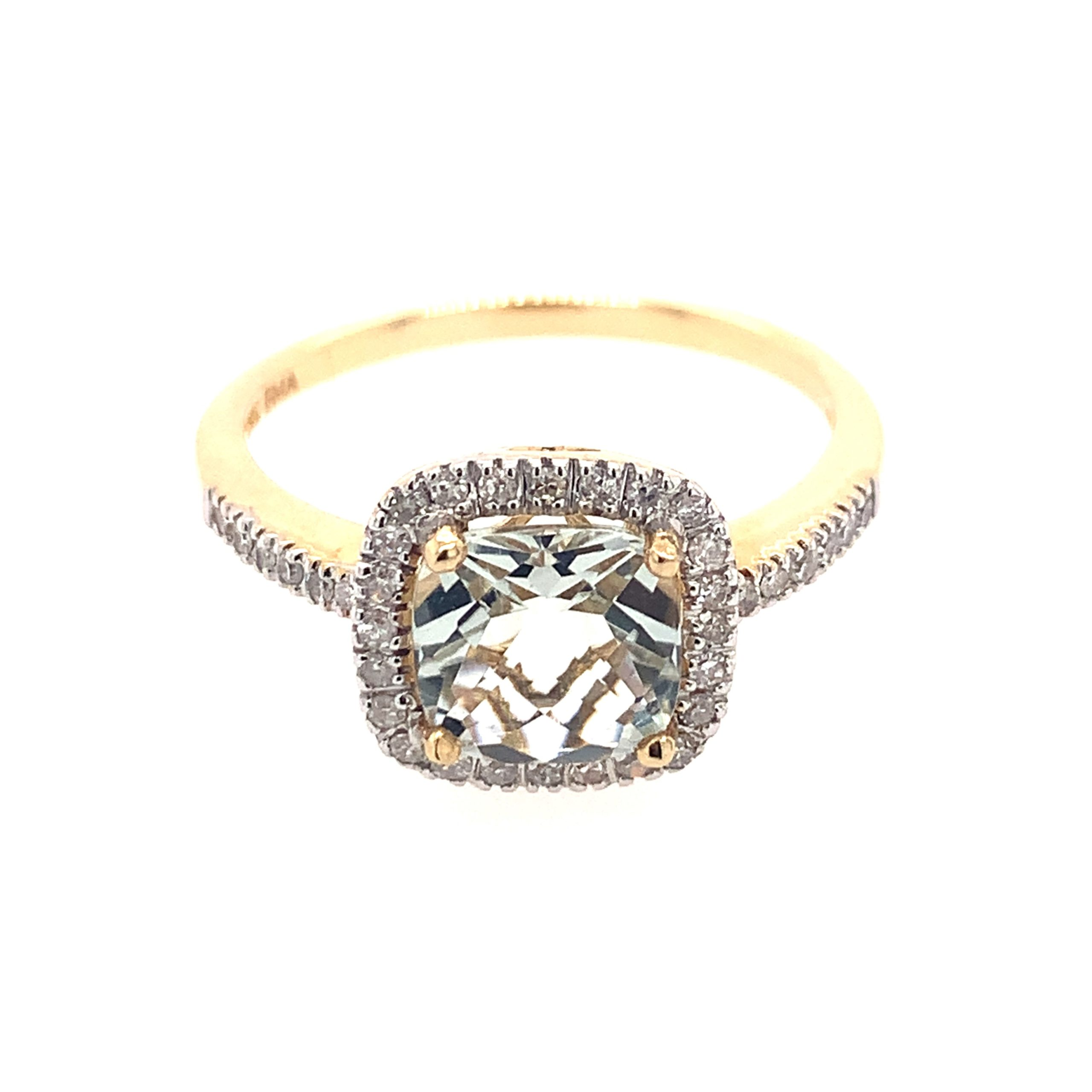 Yellow Gold Green Amethyst Ring