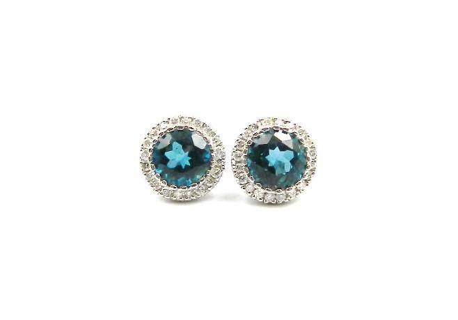 White Gold London Blue Topaz Earrings