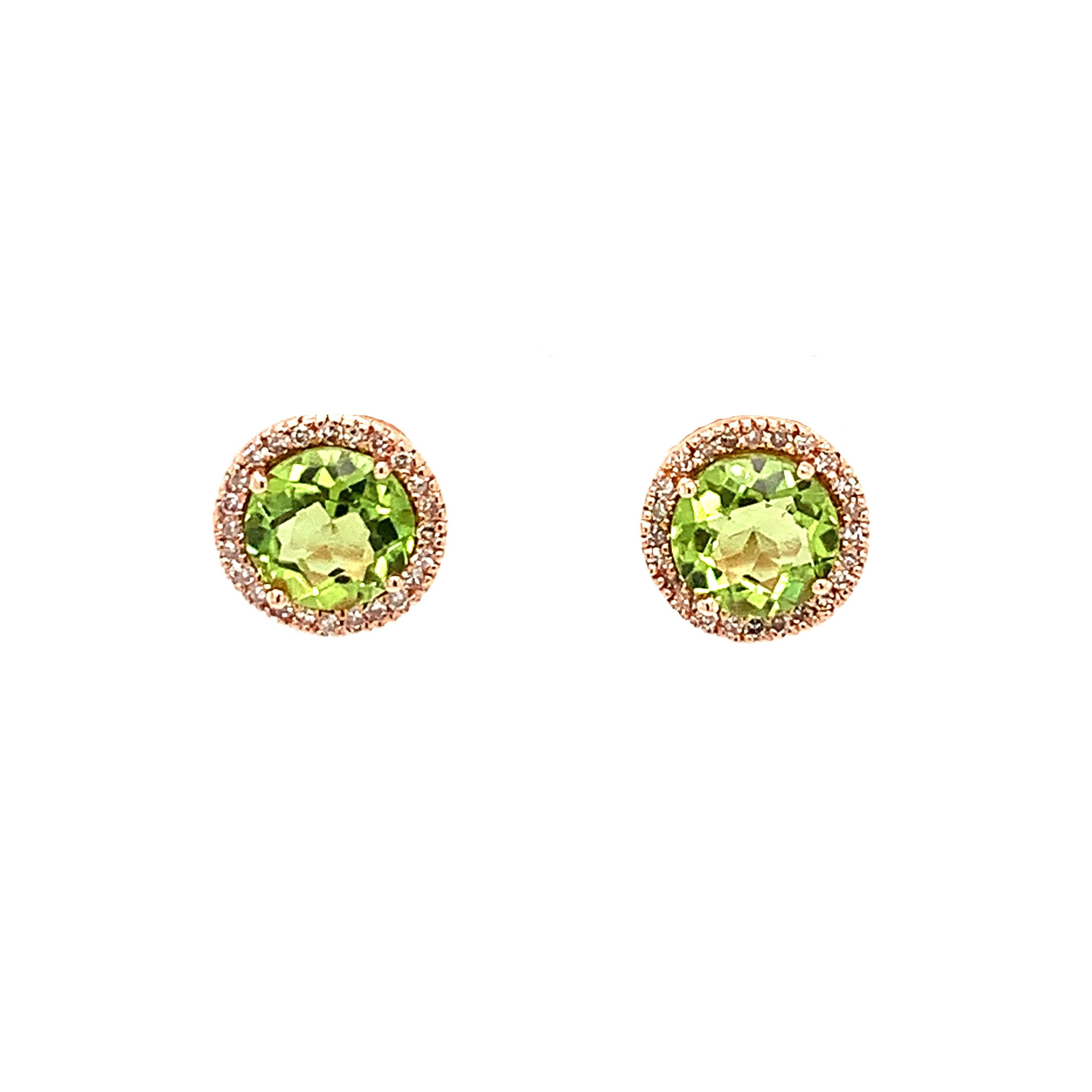 Rose Gold Peridot Earrings