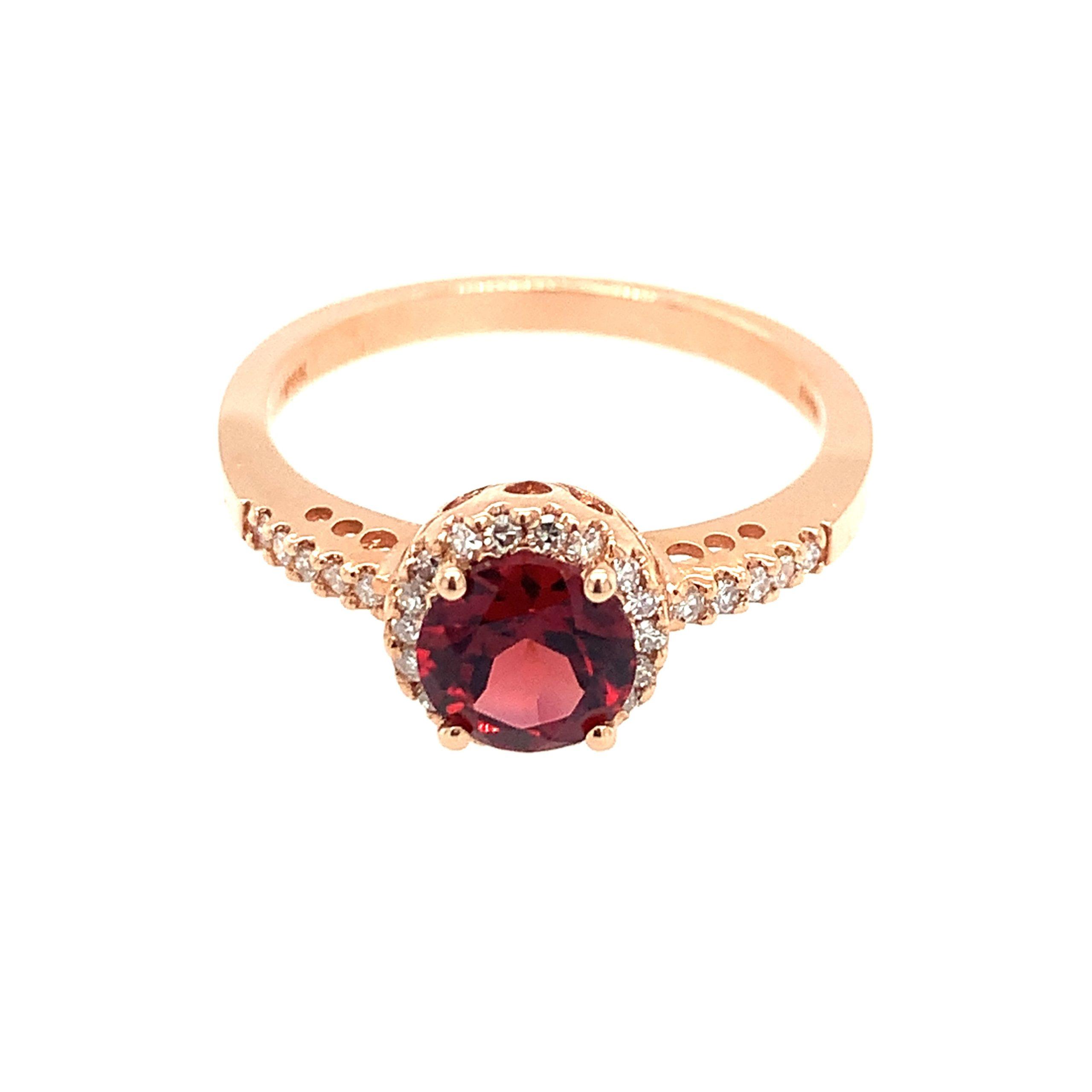 Rose Gold Garnet Ring