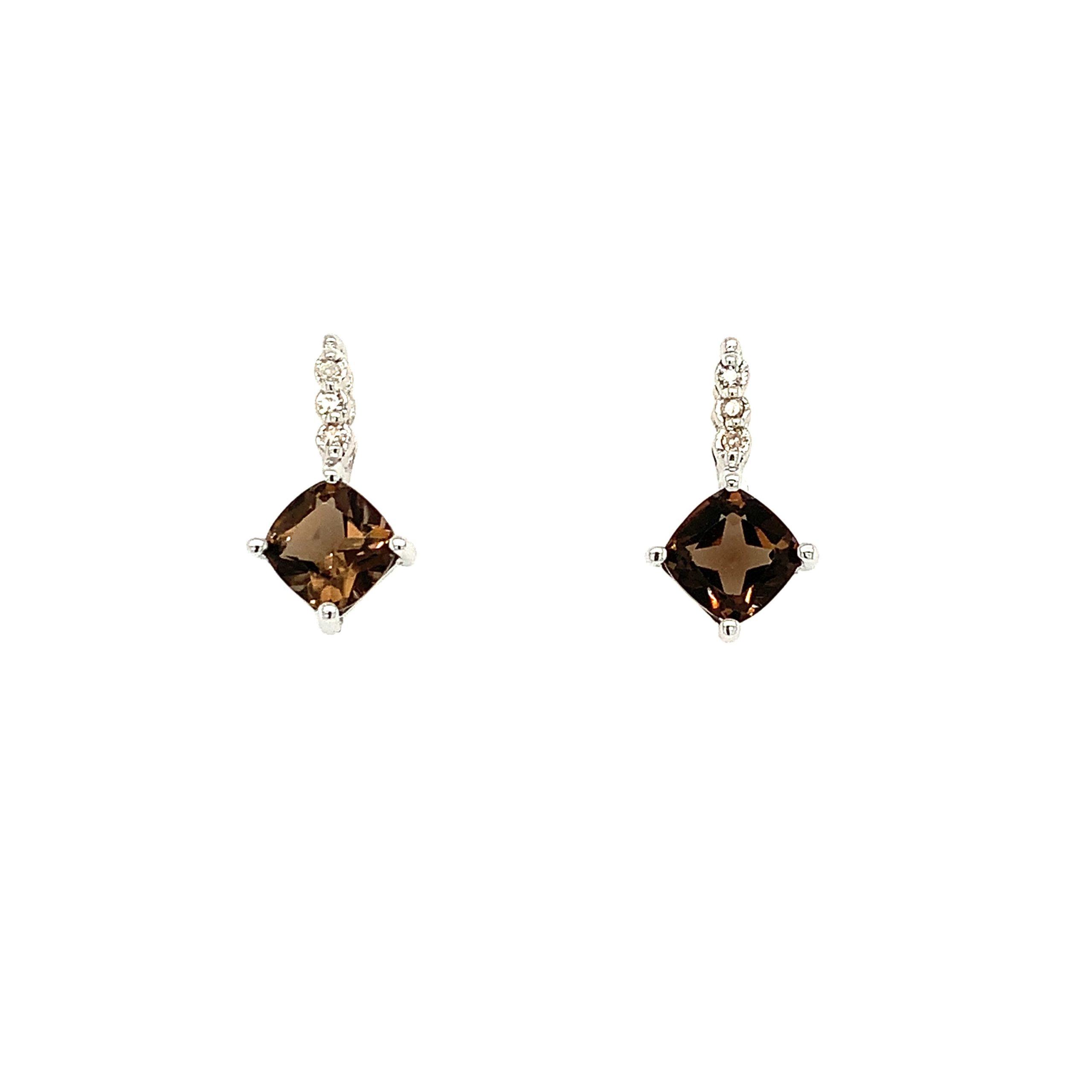 White Gold Smoky Quartz Earrings