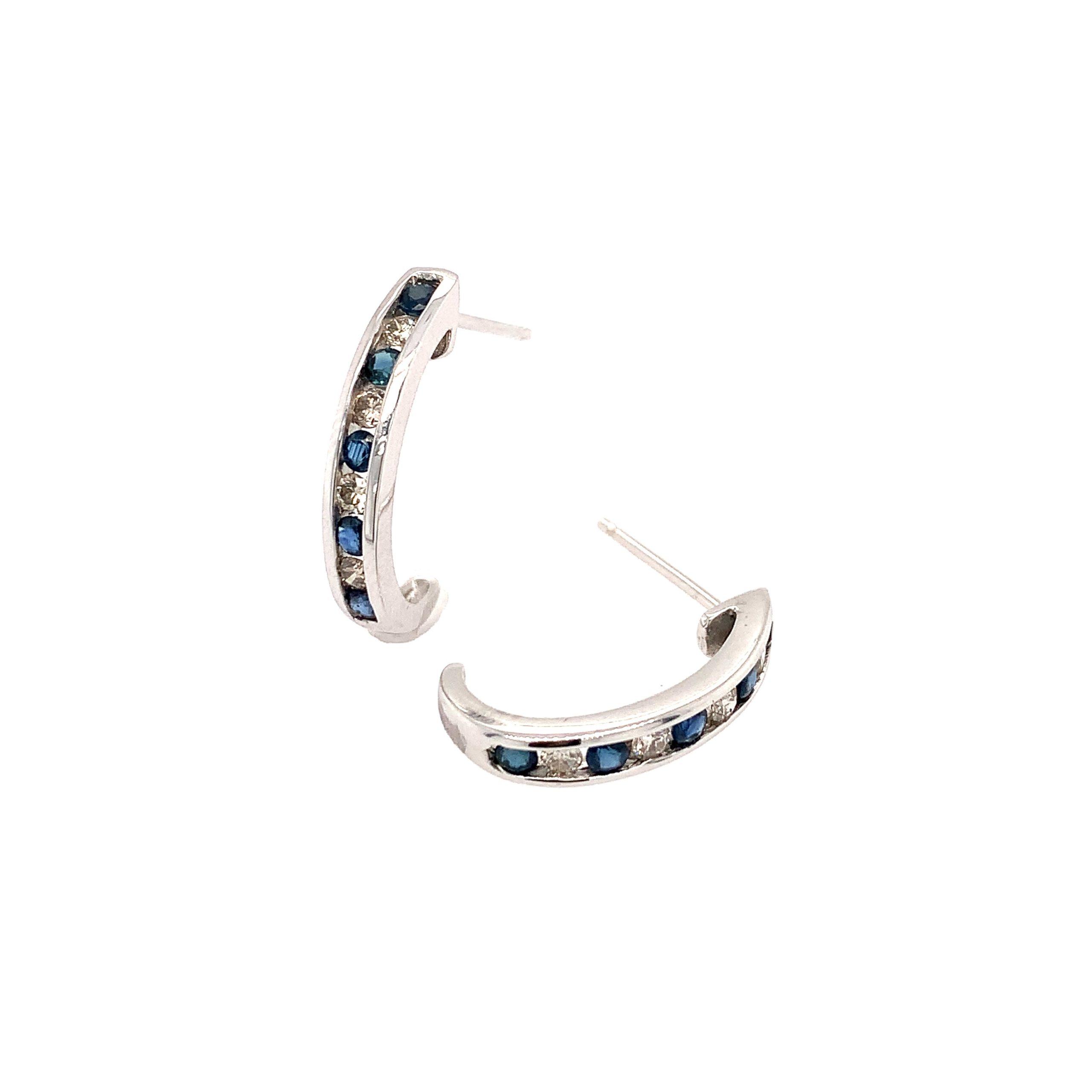 White Gold Sapphire Hoop Earrings