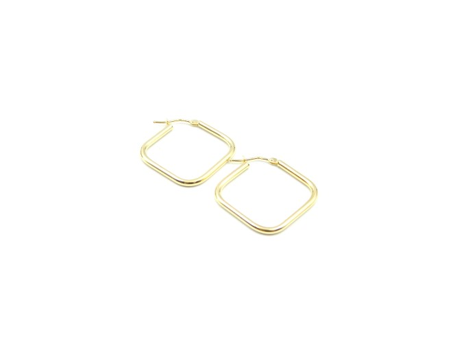 Yellow Gold Square Hoops