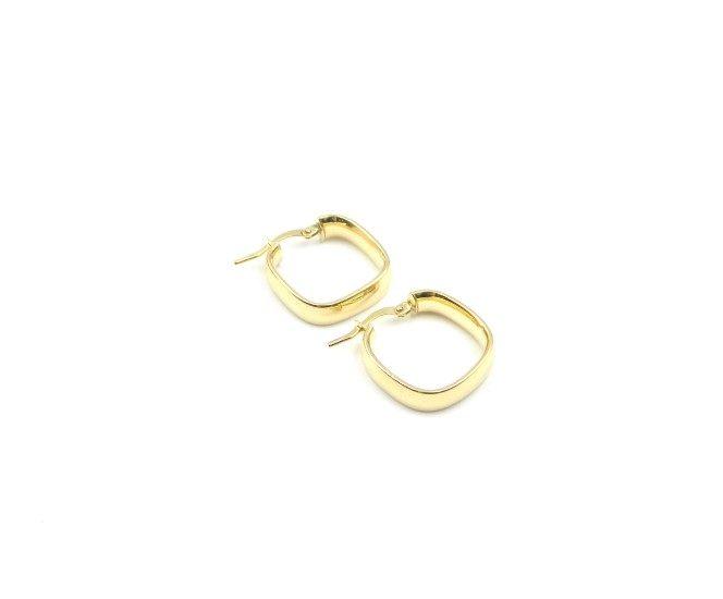 Yellow Gold Square Hoop Earrings