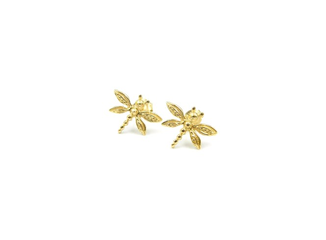 Yellow Gold Dragonfly Earrings