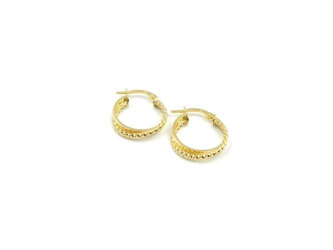 Yellow Gold Textured Hoop Earrings