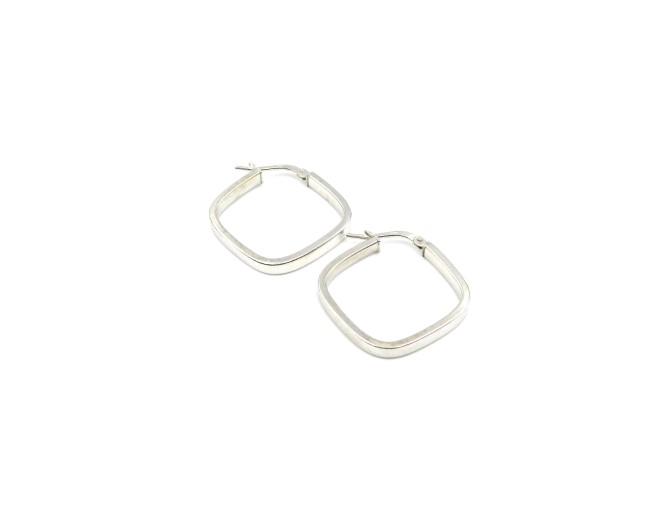 White Gold Square Earrings