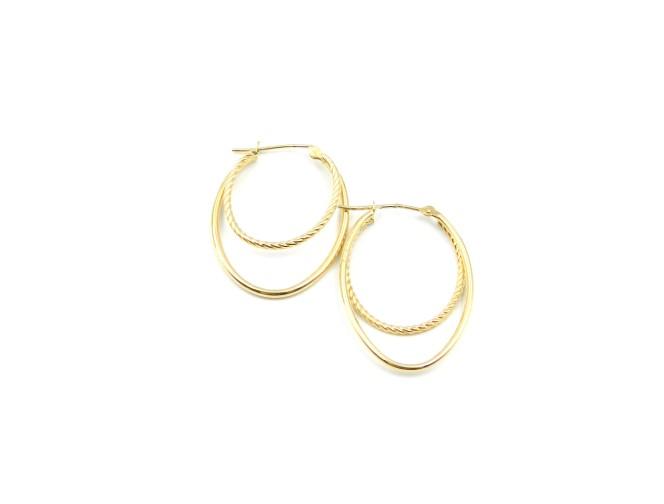 Yellow Gold Double Oval Hoop Earrings