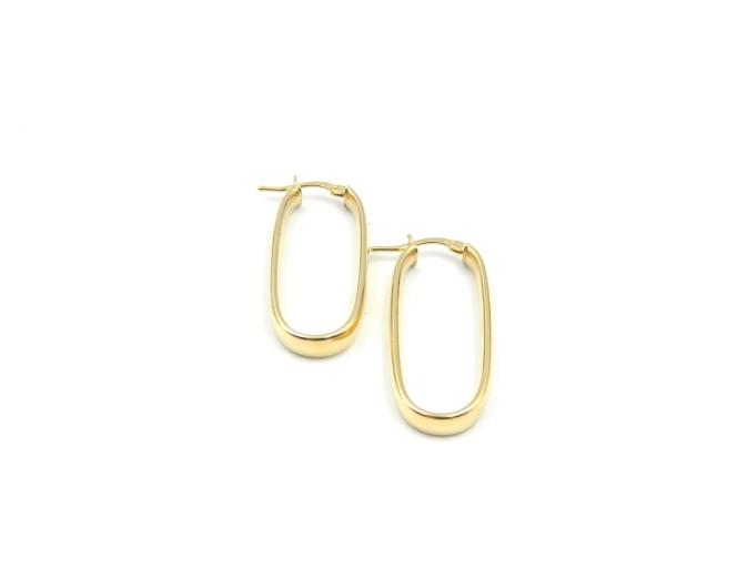 Yellow Gold Rectangle Earrings
